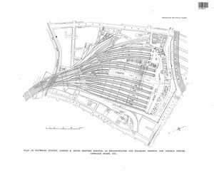 London & South Western Railway - Plan of Waterloo Station as Reconstructed and Enlarged showing new general offices and approach roads etc [c.1930s]