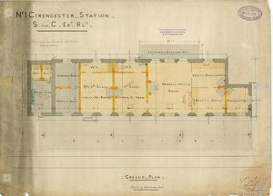 No.1 Cirencester Station - S and C Extension Railway - Ground Plan [1883]