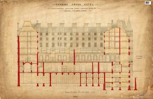 Charing Cross Hotel - Longitudinal Section Through Smoking Room Etc Looking Towards Strand [c
