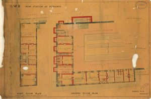G.W.R New Station at Penzance - First Floor and Ground Floor Plans [1877]