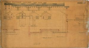 Great Western Railway Bath Goods Shed - Drawing No. 2. Elevation next to roadway