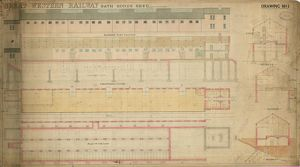 Great Western Railway Bath Goods Shed - Drawing No. 1. Elevation next to railway