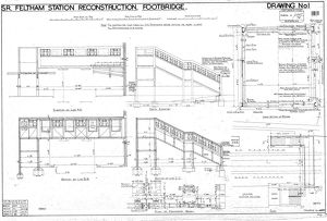 S.R. Feltham Station Reconstruction - Footbridge Elevations and Sections [1938]