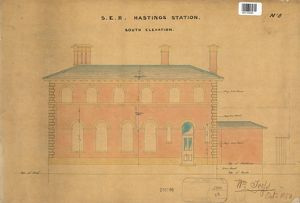 S.E.R Hastings Station - Drawing no. 8 South Elevation [1850]