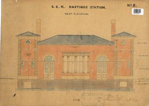 S.E.R Hastings Station - Drawing no. 6 West Elevation [1850]